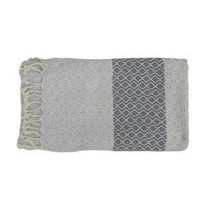 Szary ręcznie tkany ręcznik z bawełny premium Oasa,100x180 cm