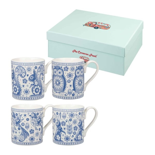 Zestaw 4 kubków Penzance Blue Mug, 250 ml