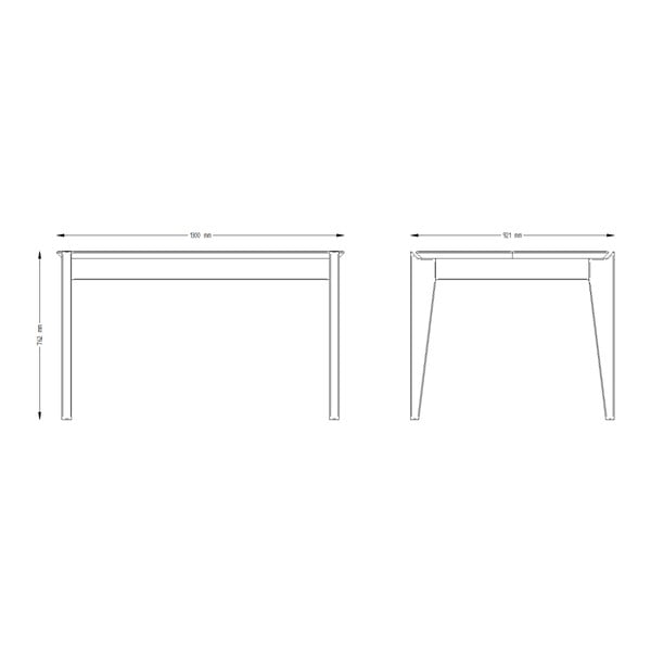 Stół z drewna sosnowego z grafitowymi nogami Askala Hook, dł. 130 cm