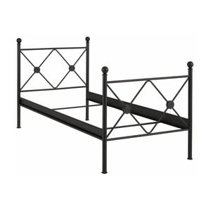 Czarne łóżko jednoosobowe Støraa Johnson, 90x200cm