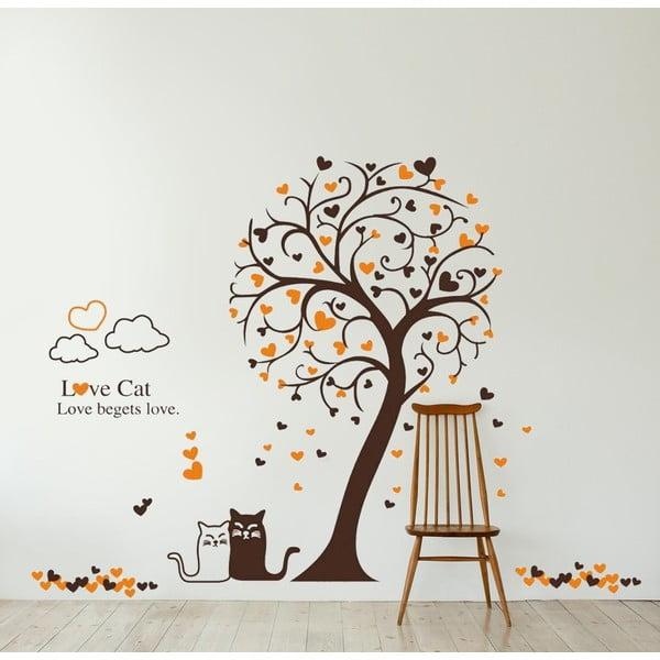 Naklejka ścienna Kot i drzewo, 60x90 cm