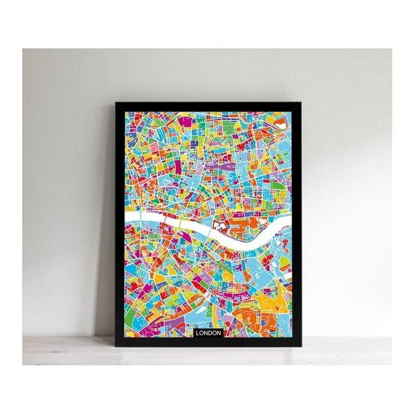 Obrazek w czarnej ramie Homemania Maps London, 32x42 cm
