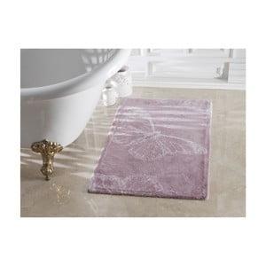 Fioletowy dywanik łazienkowy ze 100% bawełny Madame Coco Butterfly, 70x120 cm