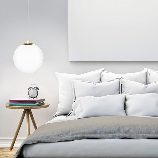 Biało-miedziana lampa wisząca z białym kablem i Biało-u objímou Sotto Luce Tsuki, Ø25 cm