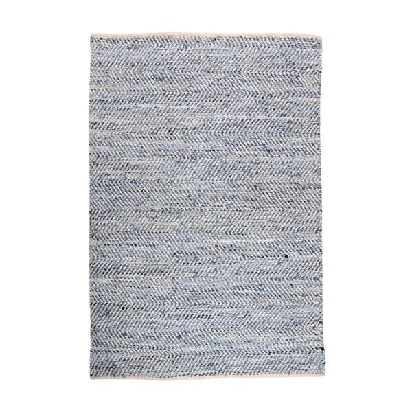 Dywan denimowy przeplatany ze skórą Atlas Blue/Ivory, 160x230 cm