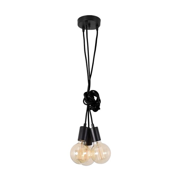 Czarna lampa wisząca z 3 żarówkami Filament Style Spider