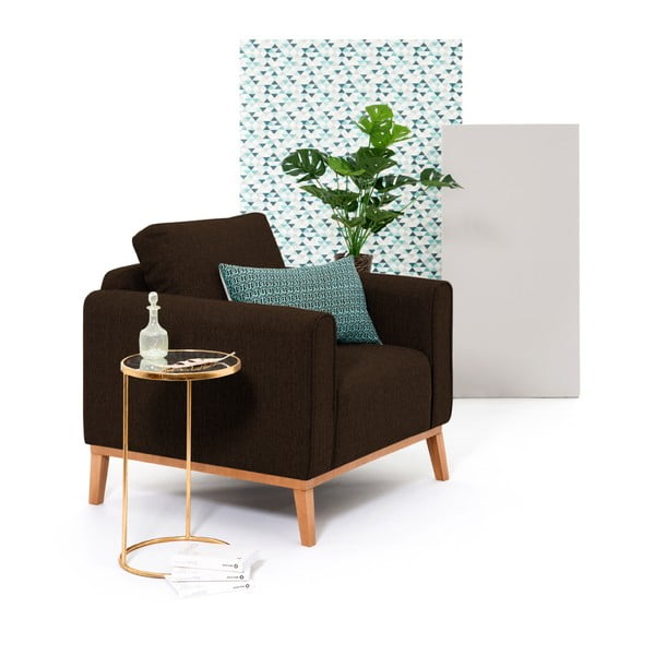 Ciemnobrązowy fotel Vivonita Milton