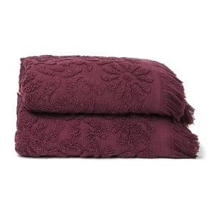 Komplet 2 bordowych ręczników Casa Di Bassi Riad, 50x90 cm