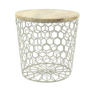 Szary stolik z drewnianym blatem HF Living Mesh