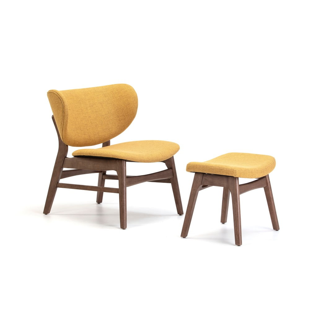 Żółty fotel z podnóżkiem Marckeric Divo