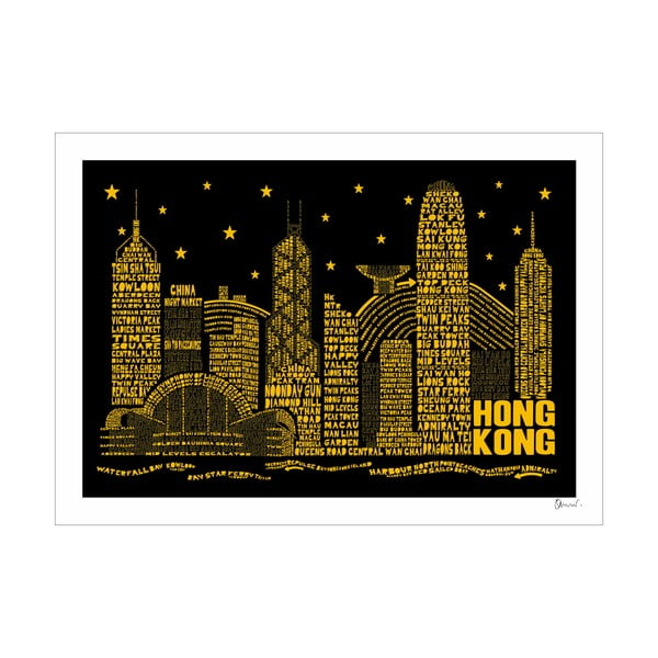 Plakat Hong Kong Black&Yellow, 50x70 cm