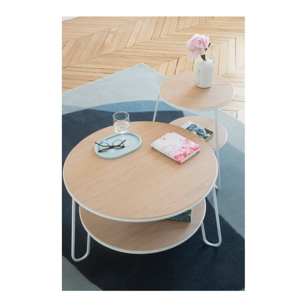 Stolik z białą metalową konstrukcją HARTÔ Anatole, ⌀ 40 cm