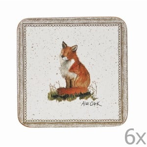 Zestaw 6 podstawek Churchill China Wildlife Fox, 10x10 cm