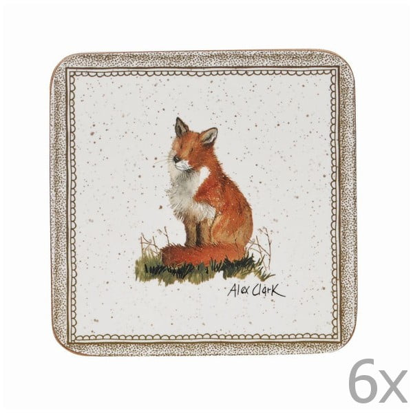 Zestaw 6 podstawek Churchill China Wildlife Fox, 10x10 cm