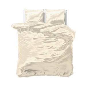 Béžové povlečení ze saténového mikroperkálu na dvoulůžko Sleeptime, 240x220cm
