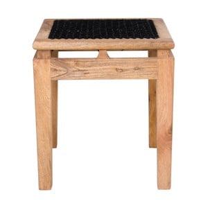 Stołek z drewna mangowego z czarnym siedziskiem House Nordic Leh