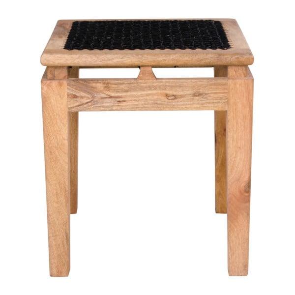 Stołek z drewna mango z czarnym siedziskiem House Nordic Leh