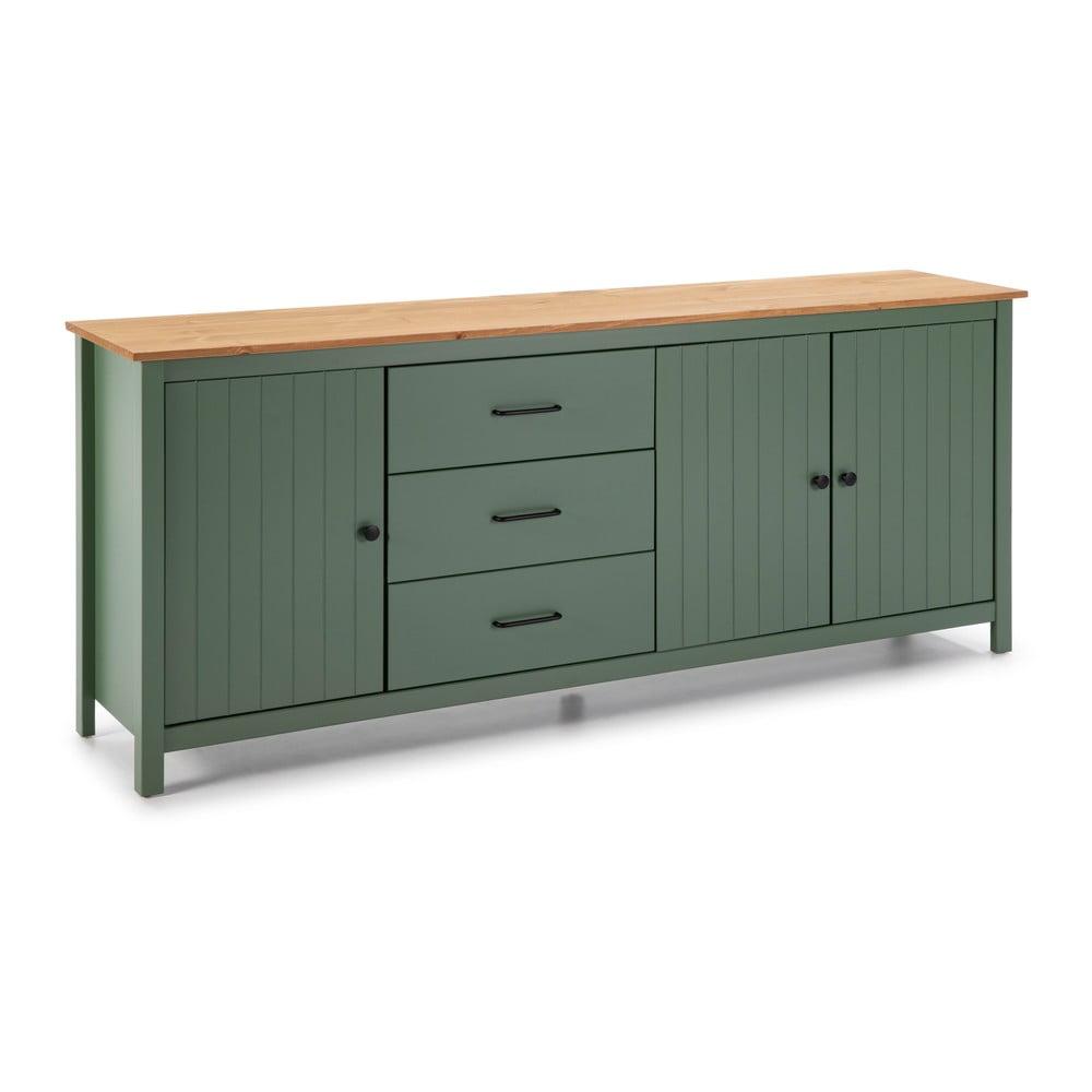 Zielona drewniana komoda Marckeric Miranda, szer. 190 cm