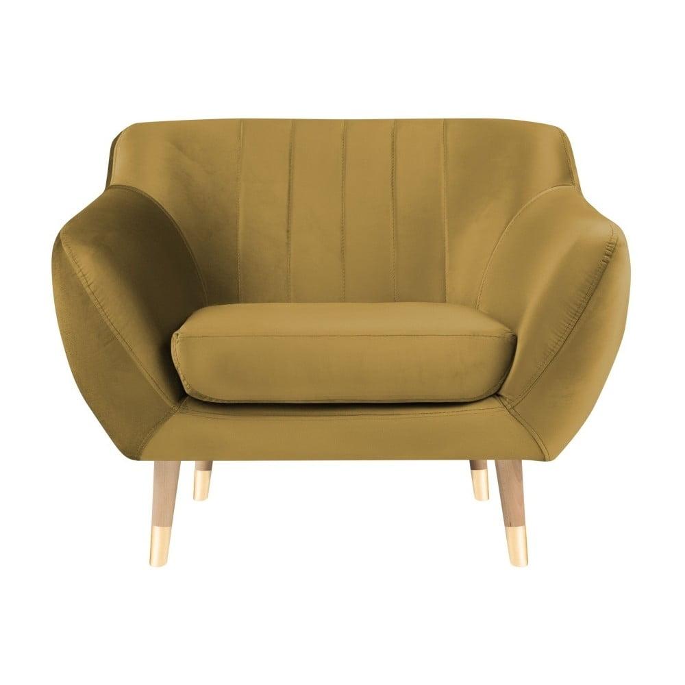 Aksamitny fotel w kolorze złota Mazzini Sofas Benito