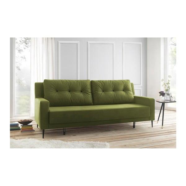 Zielona sofa rozkładana Bobochic Paris Bergen