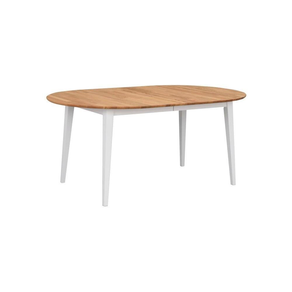 Owalny stół rozkładany z drewna dębowego z białymi nogami Rowico Mimi, 170 x 105 cm