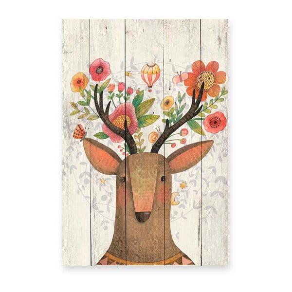 obraz na drewnie little nice things deer 60x40 cm bonami. Black Bedroom Furniture Sets. Home Design Ideas