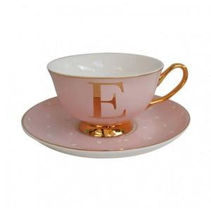 Różowa   filiżanka ze spodkiem z literą E Bombay Duck