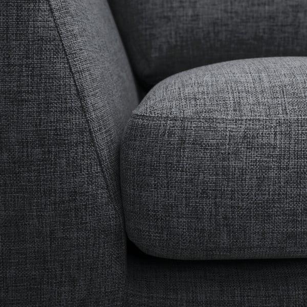 Antracytowa sofa z szezlongiem po prawej stronie Vivonita Monroe