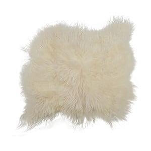 Biały dywan futrzany z długim włosiem Busta, 100x90cm