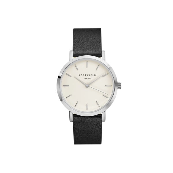 Srebrno-czarny zegarek damski Rosefield The Gramercy