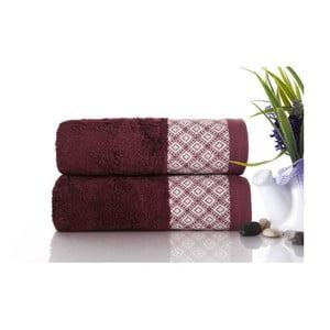 Zestaw 2 ręczników Bamboo Polo Burgundy, 50x90 cm