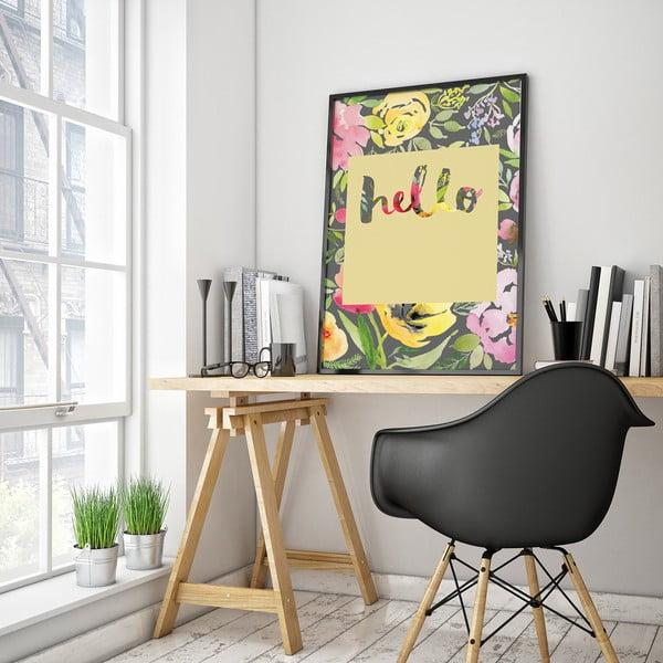 Plakat z kwiatami Hello, żółte tło, 30 x 40 cm
