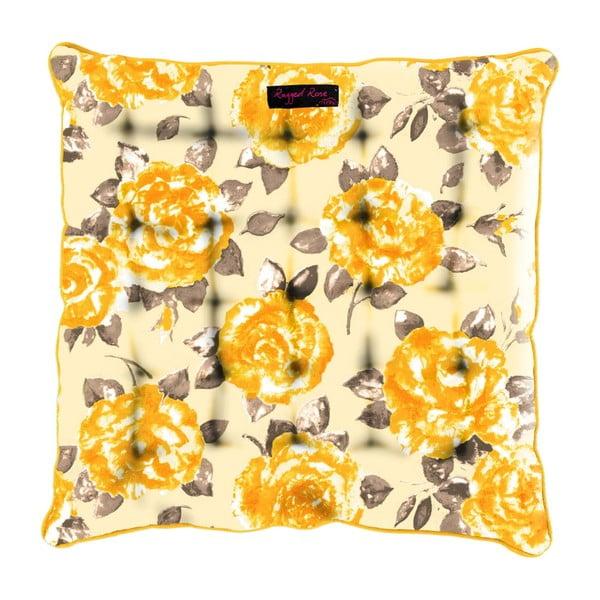 Żółta poduszka na krzesło Ragged Rose Paddy Rose