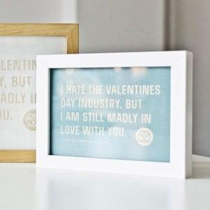 Plakat  I hate Valentines day Blue, 18x24 cm