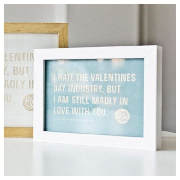 Plakat  I hate Valentines day Blue, 18x24 cm