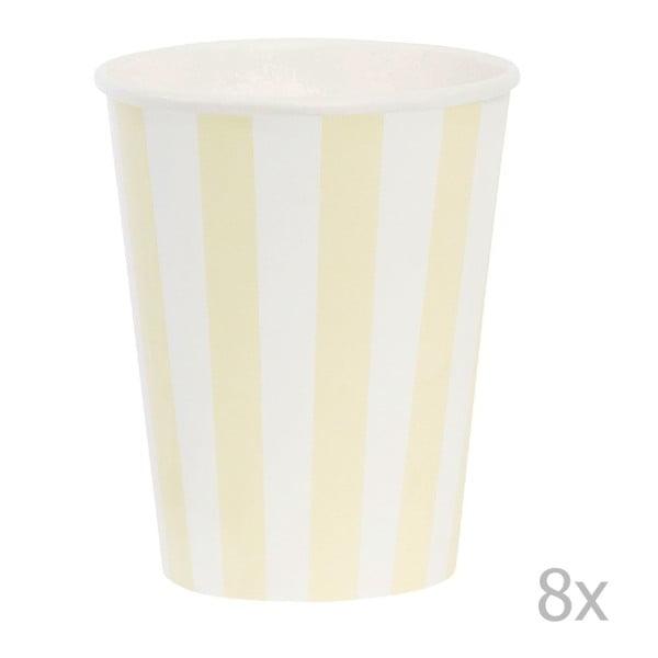 Komplet papierowych kubeczków Miss Étoile Lemon Stripe, 8 szt.
