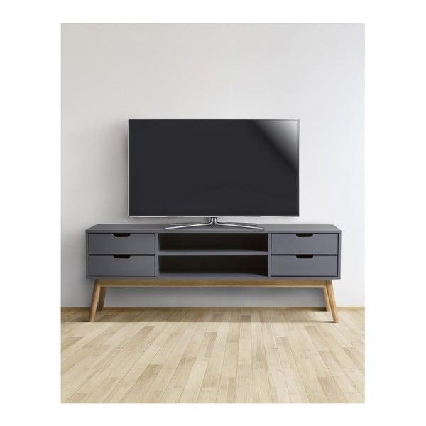 Szara szafka pod TV z litego drewna sosnowego Marckeric Baku