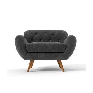Ciemnoszary   fotel z jasnoszarymi guzikami Wintech   Zefir
