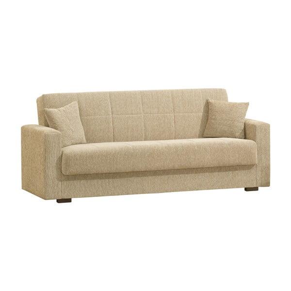 Beżowa trzyosobowa sofa rozkładana ze schowkiem Esidra Relax
