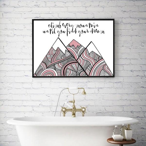 Plakat w drewnianej ramie Pink climb, 38x28 cm