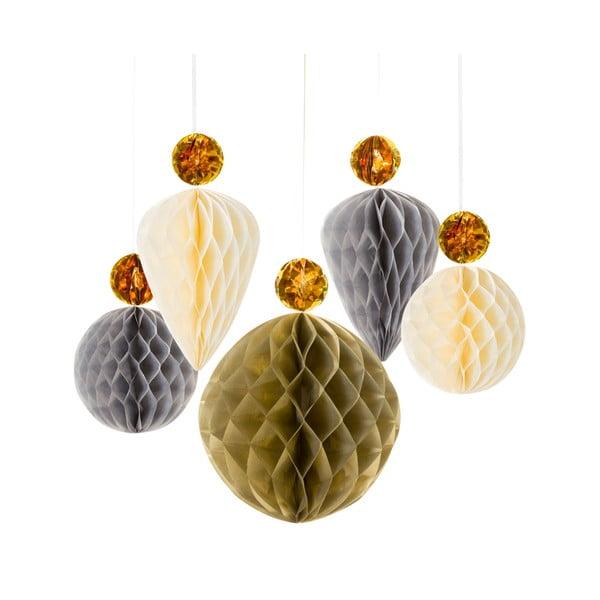 Papierowa dekoracja Honeycomb Metallic, 5 szt.