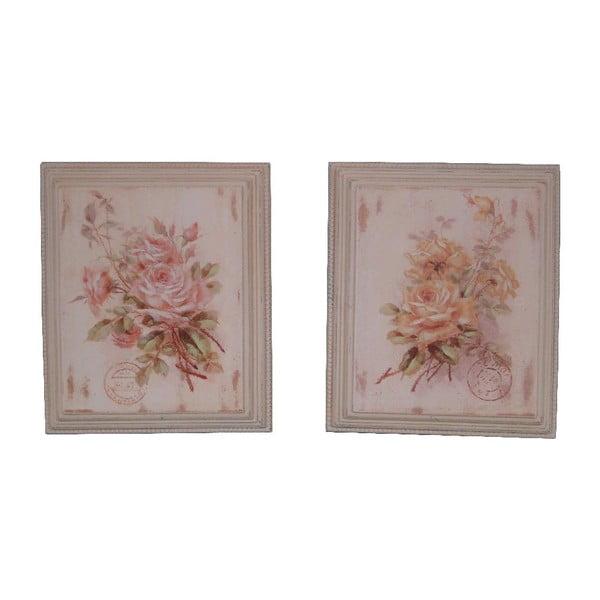Zestaw 2 obrazów Antic Line Roses, 25,5x30,5cm
