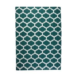 Dywan wełniany Geometry Guilloche Green & White, 200x300 cm