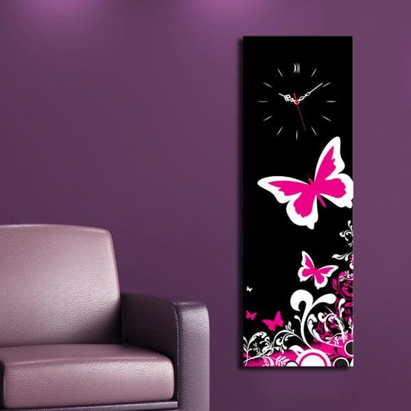 Obraz z zegarem Różowy Motyl