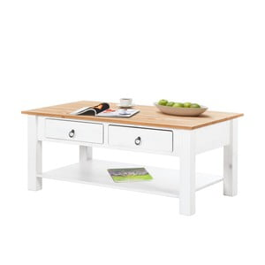 Biały stolik z drewna sosnowego z naturalnym blatem Støraa Inga