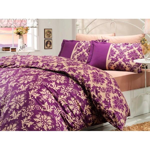 Pościel z prześcieradłem Avantgarde Purple, 200x220 cm