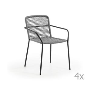 Zestaw 4 szarych krzeseł ogrodowych La Forma Boomer