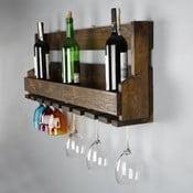 Ręcznie robiony stojak na wino z wieszakiem na kieliszki z litego drewna Catalin Faina, 90x30x12 cm
