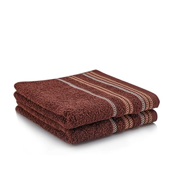 Komplet 2 ręczników Hugo Brown, 50x90 cm