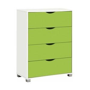Biało-zielona komoda z 4 szufladami Støraa Nelson